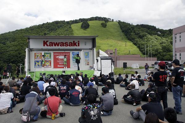 写真は「カワサキコーヒーブレイクミーティング in 田沢湖」の模様
