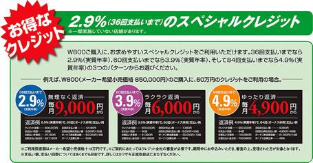 W800 秋のキャンペーン スペシャルクレジット