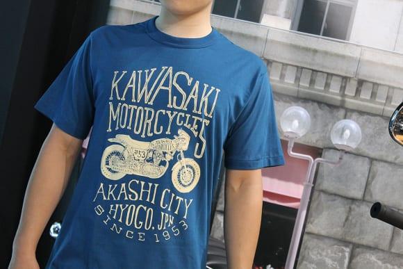 カワサキ デザインTシャツ(W) インクブルー