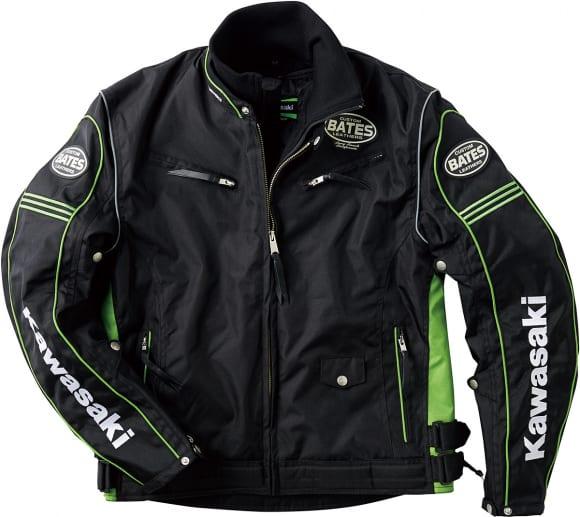 カワサキ KB2Wライダースジャケット ブラック/グリーン