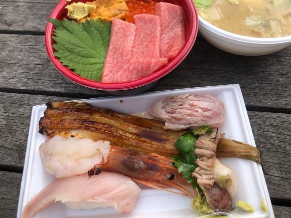 マグロの海鮮丼やフクの味噌汁、穴子寿司