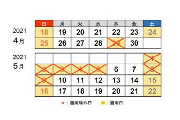 2021年ゴールデンウイーク期間中の休日割引が適用されない日のカレンダー