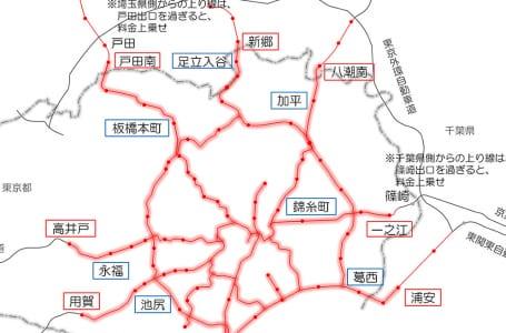 首都高速道路値上げ地図
