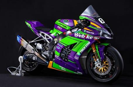エヴァンゲリオン初号機をイメージした紫と緑のカラーリングを施したゼッケンナンバー31「エヴァRT初号機Webike TRICK STAR」