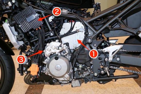 EVと水素エンジンへのカワサキの挑戦 HEV二輪研究車のパワーユニット